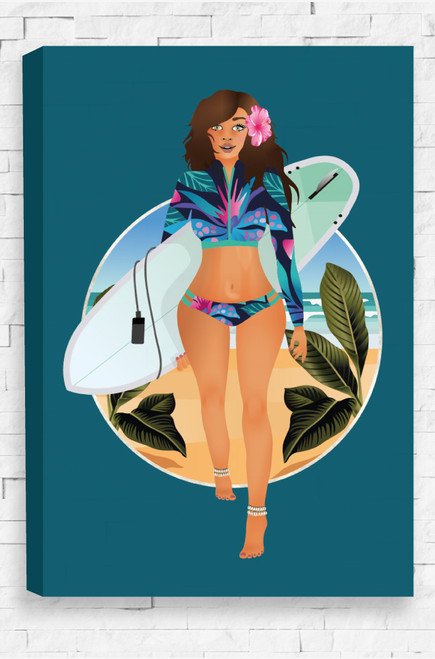 Stretch canvas with Beach Babe illustration featuring a surfer girl at the beach with tropical foliage and a peacock blue background. Perfect gift idea for teenage girl.