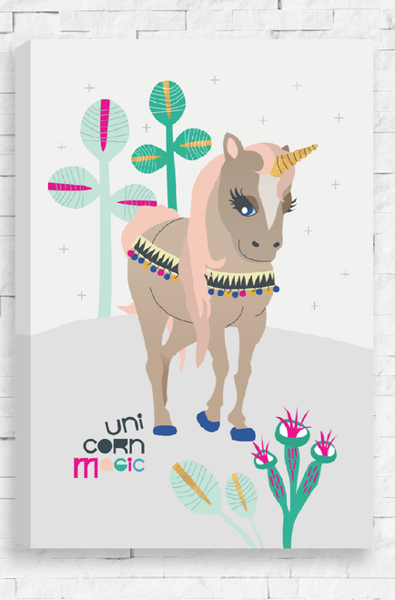 Unicorn Magic is a ready to hang canvas featuring a beige colored unicorn with pretty blue eyes. It's mane is coral and hooves bright blue, the unicorn trots along a light grey background and past quirky plant life.
