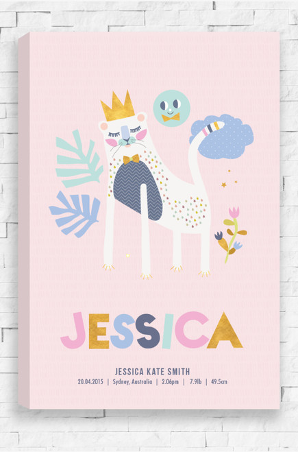 Suited to a girls bedroom or nursery, this ready to hang canvas features a happy lion wearing a gold crown, sitting on a pale pink background. Beneath is a quirky, child like font with the child's name and the personalised birth details.