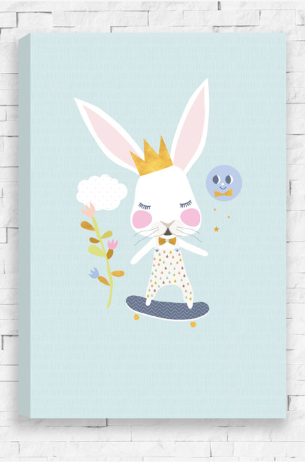 A funky wall art canvas for a girls or boys bedroom. It features a white rabbit with large ears, wearing a raindrop patterned outfit and riding a blue skateboard. Around the rabbit is a plant with flowers and a pale purple sun smiling down on the rabbit. The colours are pastel with gold highlights, all set on a pastel aqua background with a line pattern overlay.