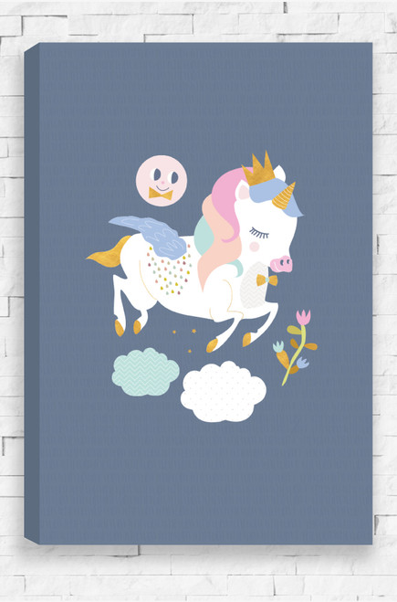 A creative design for a little girls bedroom or nursery that see a pastel and white coloured unicorn wearing a gold crown and bow tie.Set on a steel grey background,  Zoe Unicorn smiles and she jumps through two fluffy clouds beneath hear and smells the flowers before he.