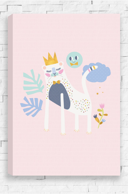 Set on a pale pink background, a white lion wears a gold crown and bowtie. With a zig zag patterned navy chest, Olivia Lion is patterned with colourful raindrops. An aqua coloured sun, near a pastel purple cloud,  smiles down. Surrounding the lion are two large leaves and a smaller plant with flowers.