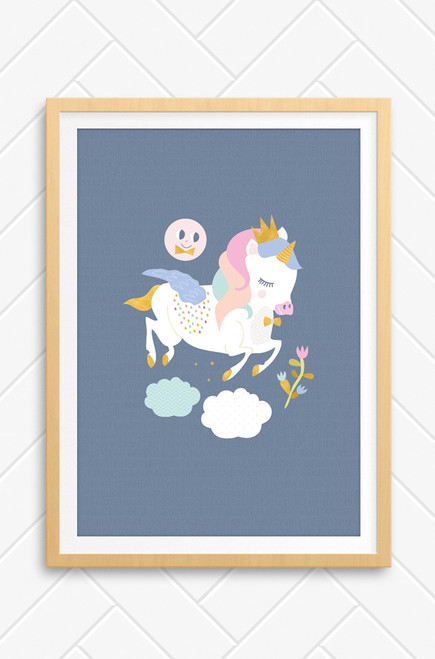 A wall art print for kids featuring a happy feminine unicorn, prancing over fluffy clouds. A smiling moons sits above on the light charcoal coloured background.