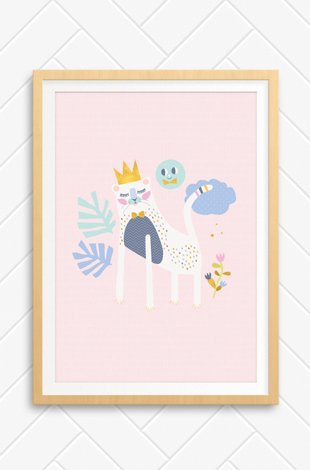A princess lion, decorated with colour raindrops and a gold crown this gorgeous illustration sits on a pale pink background.