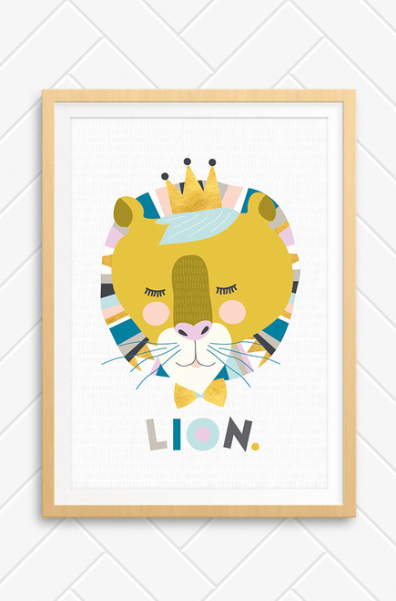 Luca Rose Designs wall art print called Lenni Lion, featuring a peaceful lion coloured in mustard and contrasting pastel colours. It's main is patterned with an Aztec style design and it is set on a light grey background with hand drawn strokes. The cute lion wears a snazzy bowtie and a crown. Underneath are letters playfully arranged to spell LION.