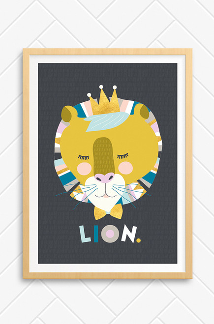 Luca Rose Designs Australia made wall art printed titled Lenni Lion. The artwork features a Lion's head, coloured in mustard and pastel combinations. It's eyes are closed and it wears a bow tie and crown. Underneath the face are letters playful placed to spell Lion. The background is charcoal grey and when zoomed in, has a lighter grey stroked pattern on it.
