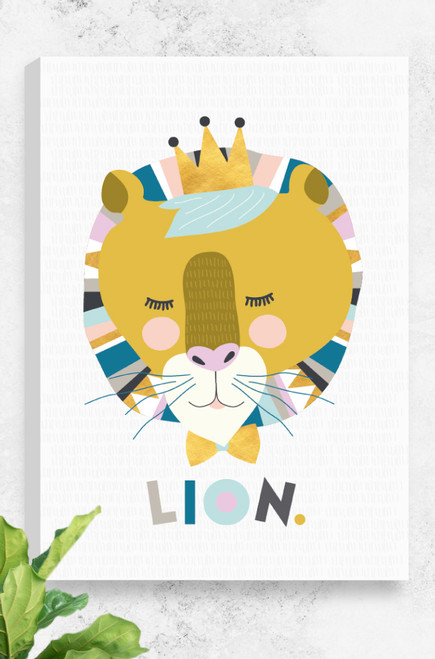 Designed and made in Australia, this Lenni Lion, ready to hang canvas features a lion in feminine colours, wearing a crown and bowtie, all set on a light grey background with a subtle hand drawn lined background. The artwork uses pastel colour combinations, contrasting with a bold mustard on the face. Underneath the head is the word LION, arranged in a playful manner.