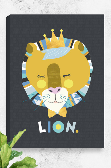 A canvas by Luca Rose Designs, that comes stretched, ready to hang and is 100% Australian made and designed. The artwork comprises of a sleeping lion's head, coloured with mustard and yellow tones, and surrounded by a patterned mane. The Lion wears a golden crown and matching bow tie. Underneath the head and letters playfully arranged to spell LION. The illustration is placed on a bold charcoal patterned background.