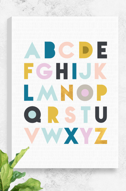 Simply designed Alphabet canvas using feminine colours for the lettering and set on a light grey background with subtle line pattern.
