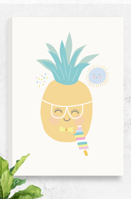 A digitally illustrated artwork, Tooty Fruity Pineapple, using simple design and colour palette. The canvas is ready to hang and features a happy pineapple, wearing glasses and a bow tie while eating an ice-cream. A small sun smiles in the background, all sitting on a pale grey background.