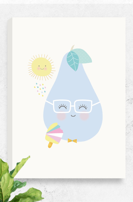 A Luca Rose Designs canvas, Tooty Fruity Pear, mounted on a concrete wall. The artwork features a curvy, purple pear wearing square, white glasses. The pear has rosy pink cheeks and a little smile. It holds a colourful ice-cream and a happy yellow sun looks down on it from above.