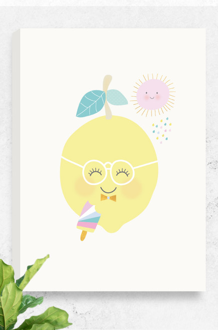 An image of our Tooty Fruit Lemon canvas, available in various sizes. The design features a delighted, happy lemon, a patterned ice-block and a smiling sun. The colours are soft pastel, sitting on a light grey background.