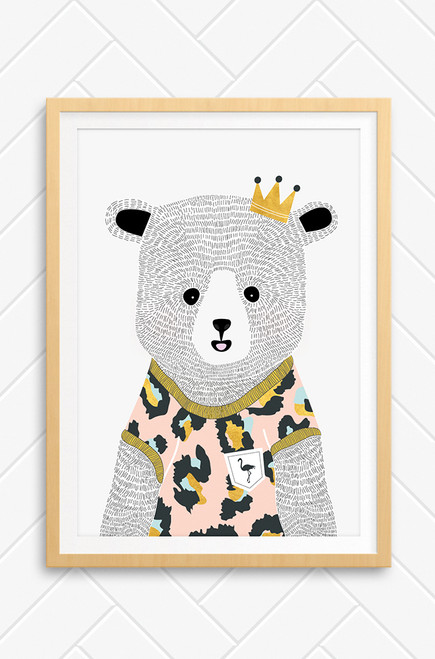 A Luca Rose Designs illustrated wall art print featuring 'Emma' Bear, a detailed bear wearing a pink leopard print jumper with gold trim. The bear is set on a plain light grey background and wears a small gold crown on the right side of her head.