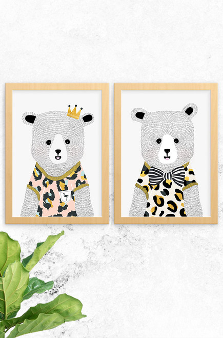 'Emma & Ted Bear' Prints (2 Pack)  |  Kids Wall Art