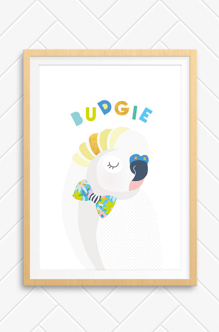 A Scandinavian inspired illustration for kids bedroom featuring a grey budgie wearing a colour bowtie. It has bright yellow stripes across its head and the word budgie arranged in a colourful type above the bird.