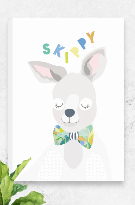 A fresh and unique ready to hang canvas for kids featuring a happy kangaroo (known as skippy) wearing a bowtie. The colours are light greys, yellows and greens. Also available in budgie, koala and cockatoo, the perfect set for any wildlife warrior. Available in three sizes at great prices.