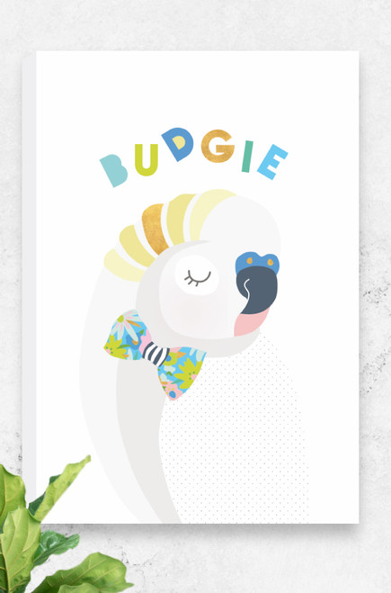 A fresh and unique ready to hang canvas for kids featuring a peaceful budgie wearing a bowtie. The colours are light greys, yellows and greens. Also available in skippy, koala and cockatoo, the perfect set for any wildlife warrior. Available in three sizes at an affordable price.