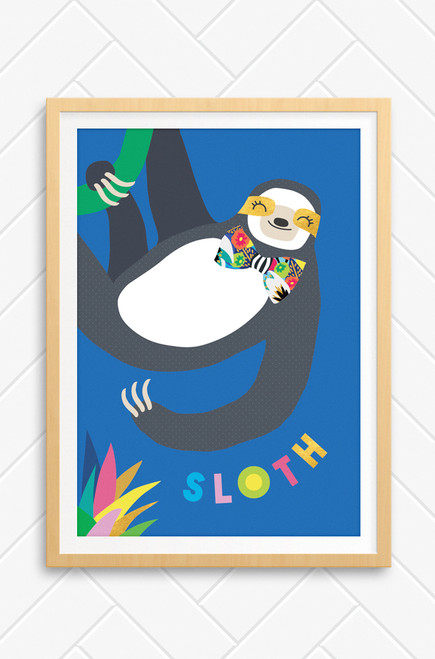 A smiling sloth illustration by Luca Rose Designs. Hanging from a green vine, the charcoal and white coloured sloth wears a brightly patterned bow tie. Set on a blue background with the word sloth arranged underneath.
