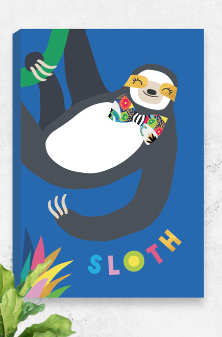 A unique ready to hang canvas featuring a sloth hanging from a green vine. The bright colours, sophisticated bow tie and playful typography at the bottom make for an artwork fit for any jungle lover!