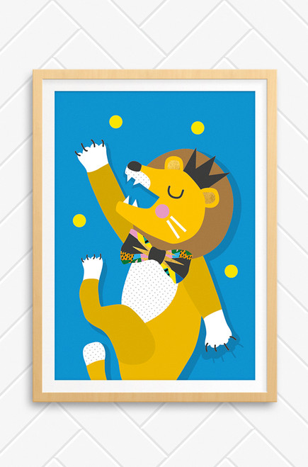 A joyful lion illustration set on a vibrant blue background. With his legs and arms moving as he dances with yellow balls floating around him. A giant friendly smile, a bowtie and sophisticated crown. Made in Australia by Luca Rose Designs.