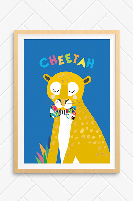 An illustrated Cheetah with gold spots and a colourful bowtie. Set on a vibrant blue background with the word Cheetah written playfully above.