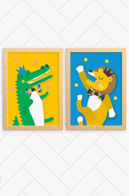 The perfect pair of happy prints for a child's bedroom. One featuring a happy crocodile and the other an energetic lion, both dancing and throwing balls above their head. Each wears a small crown and patterned bowtie. The crocodile bright green on an orange background, and the lion, orange on a blue background.
