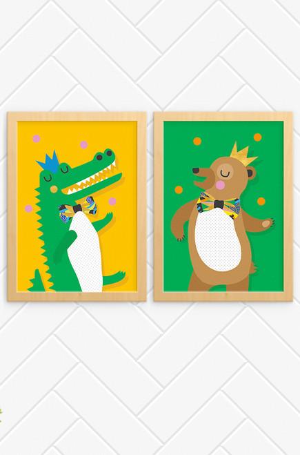 'Crocodile & Bear' Prints (2 Pack)     Kids Wall Art