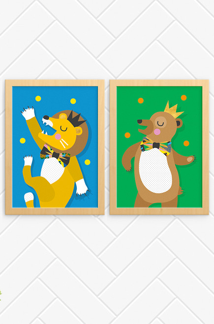 A set of vibrant and happy wall art prints for kids. One featuring a lion and the other a bear, both dancing like no-one is watching. Both are juggling colourful balls and wearing a crown and very sophisticated bowtie.