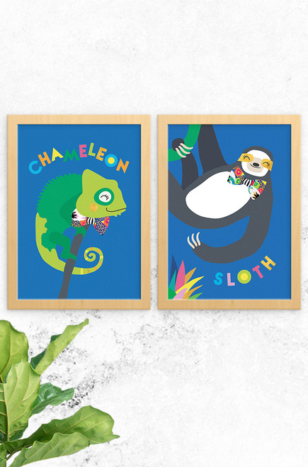 The perfect pair, Chameleon and Sloth wall art illustrated prints. Bold and colourful, digitally illustrated and made in Australian with a whole lot of love.