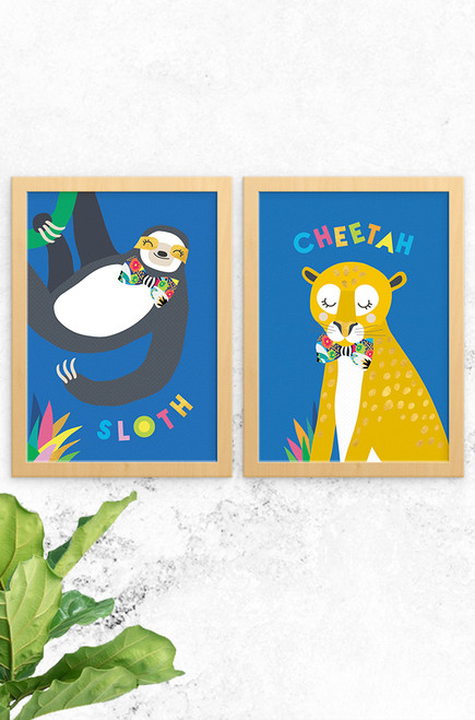 A set of prints designed by Luca Rose Designs in Australia. One a sloth and the other cheetah, both wearing fancy bowties and sitting pretty on a bright blue background. A lovely accompaniment to any jungle themed nursery or children's bedroom.
