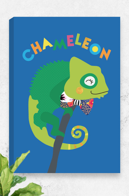Stylish and unique, this ready to hang canvas features a bright green chameleon curled around a branch. The words Chameleon are playfully scattered above the peaceful animal and it wears an oversized bowtie around it's neck. A bright blue background and a lovely home decor piece.