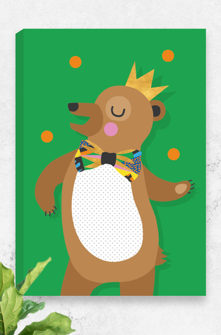 A vibrant green ready to hang canvas featuring a happy brown bear wearing a golden crown and oversized bowtie. With a giant smile he dances and juggles orange balls above his head. Available in three sizes and made in Australia.