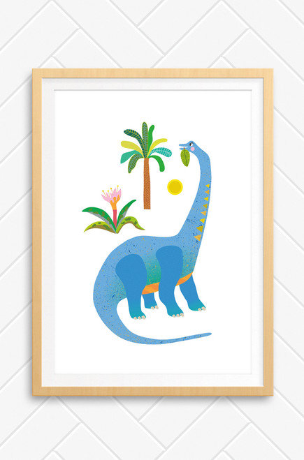 A Luca Rose Designs kids poster illustration featuring a blue and orange Brachiosaurus munching on leaves from a near by tree. The digital drawing is set on a white background. Designed and printed in Australia.