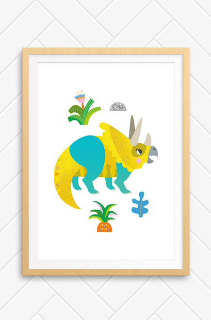 A Luca Rose Designs illustrated Triceratops that features a yellow and aqua coloured dinosaur, modern style plants on a white background. Designed and made in Australia.
