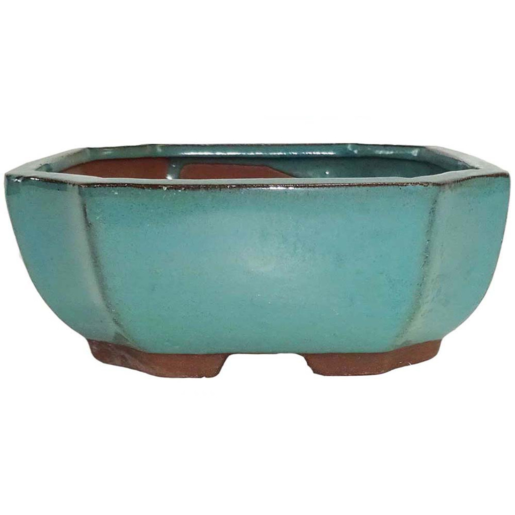 Small Green Rectangle Indented Corner Pot - CGG118-6GN