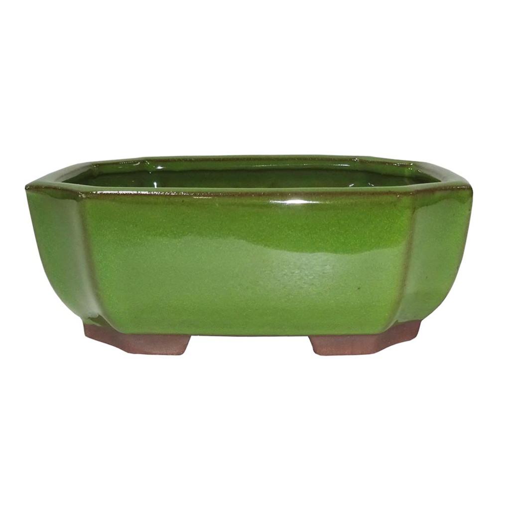 Medium Serpent Green Rectangle Indented Corner Pot - CGG117-6STG