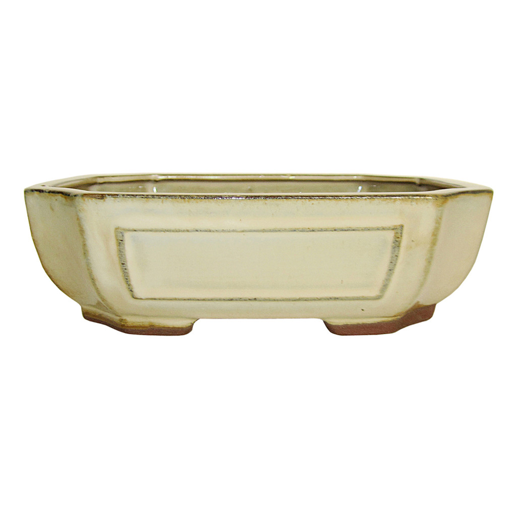 Large Ivory Rectangle Indented Corner Pot - CGG118-10HZY