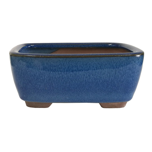Small Blue Rectangle Indented Corner Pot - CGG127-6BL