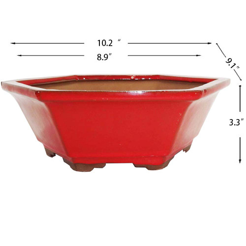 Large Red Hex Pot - CGH10-10RED