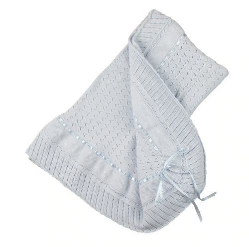 Blue Pointelle Knit Ruffle Blanket