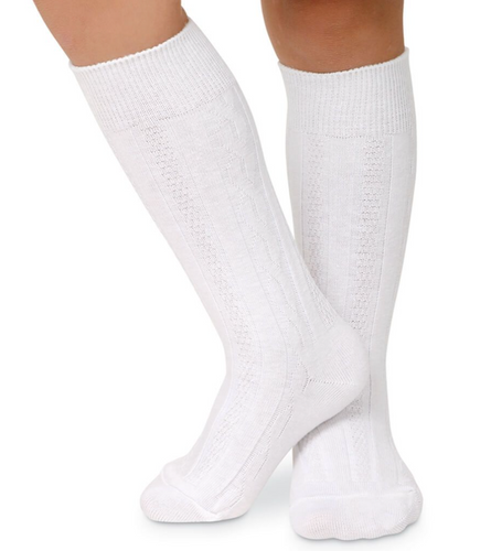 White Classic Cable Knit Knee Socks