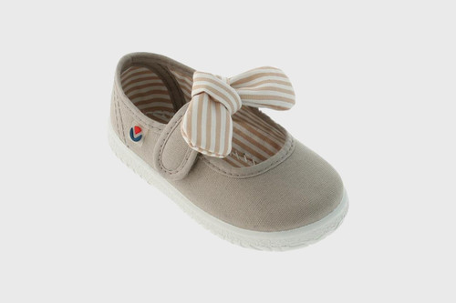 Beige Bow Mary Jane Sneakers