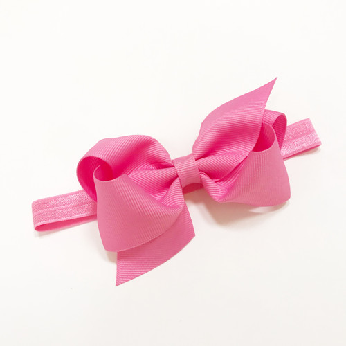 Small Classic Grosgrain Bow on Baby Band - Hot Pink