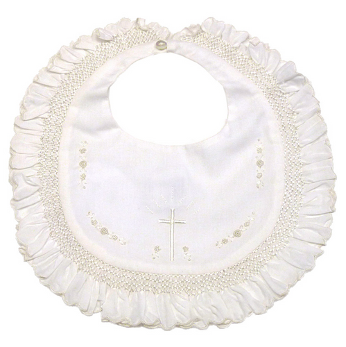 Christening Bib with Ruffle & Cross Embroidery - Ivory