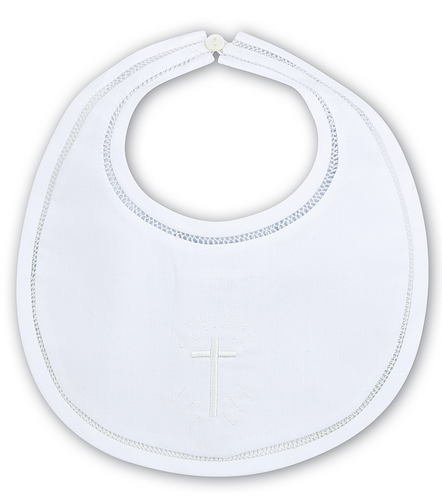 Christening Bib with Cross Embroidery - White