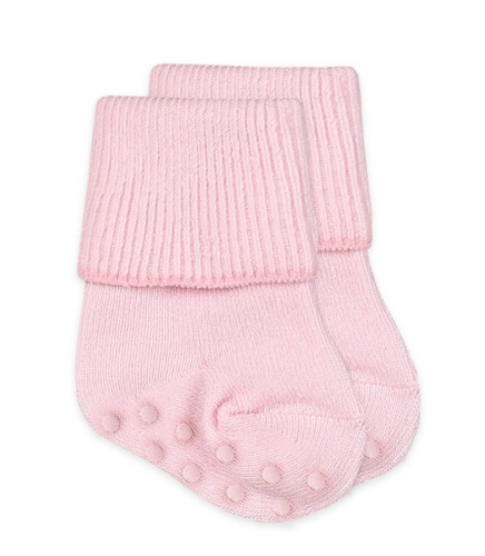 Non-Skid Turn Cuff Socks - Pink