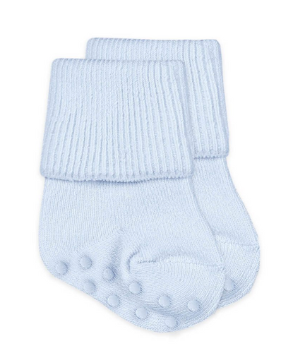 Non-Skid Turn Cuff Socks - Blue