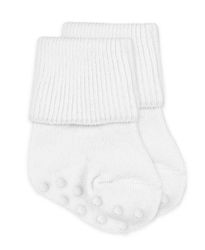 Non-Skid Turn Cuff Socks - White