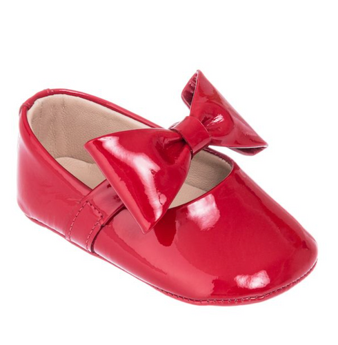 Baby Ballerina w/ Bow in Red Patent