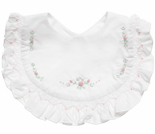 White Bib with Pink Floral Embroidery